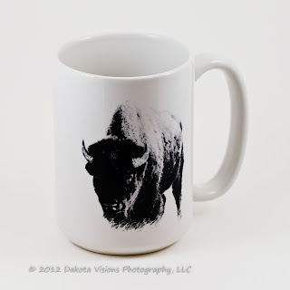 Premium 15oz Coffee Mug with Master of the Prairie by Dakota Visions Photography LLC Black Hills Wind Cave National Park Buffalo