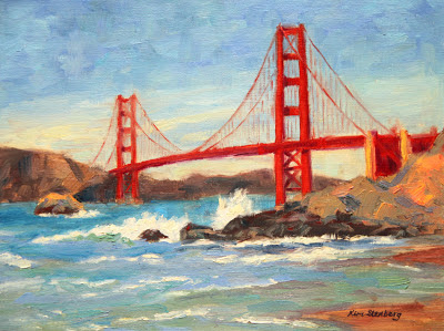 Golden gate bridge on a windy day oil on stretched canvas 12 x 16