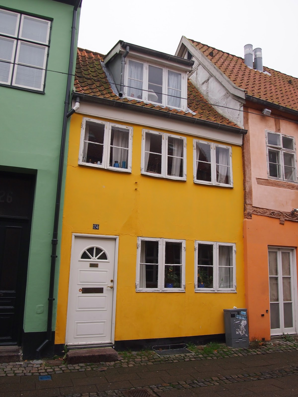 green, yellow, and orange homes by the seaside town of Helsingor