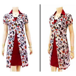 DB2953 Model Baju Dress Batik Modern Terbaru 2013