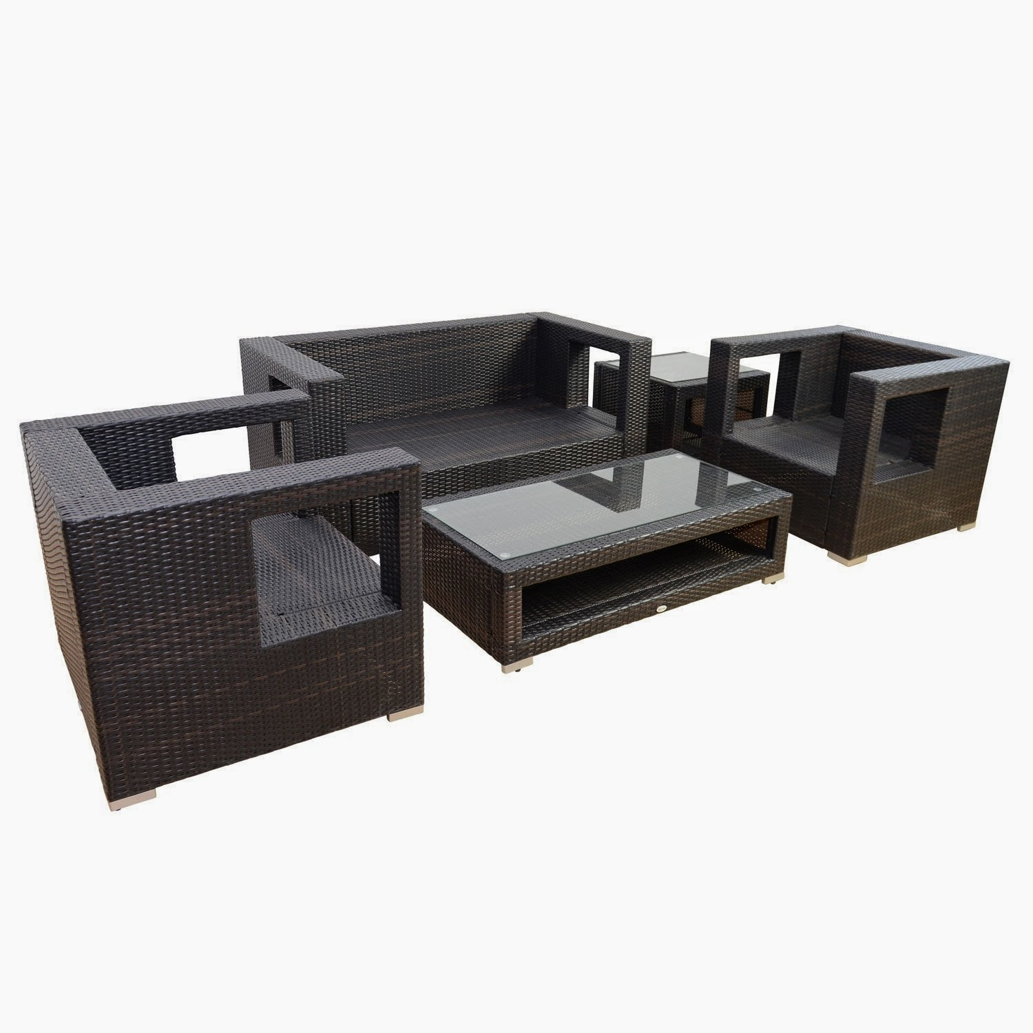 Get Discount Outsunny 5pc Outdoor Pe Rattan Wicker Sectional Loveseat Sofa Set Outdoor Patio