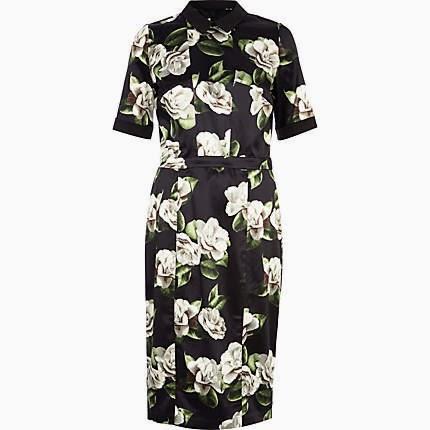 floral print black dress