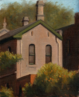 Oil painting of the rear of a Victorian-era double-storey house.