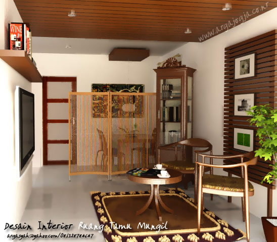 Desain Interior Ruang Tamu Mungil Coklat Classic
