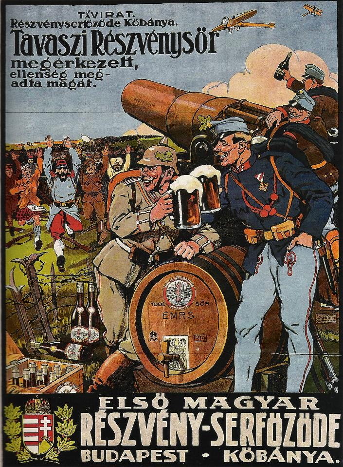 An early 20th post showing soldiers drinking beer and laughing at the enemy