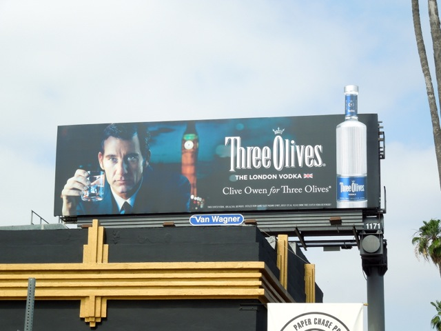 Clive Owen Three Olives billboard
