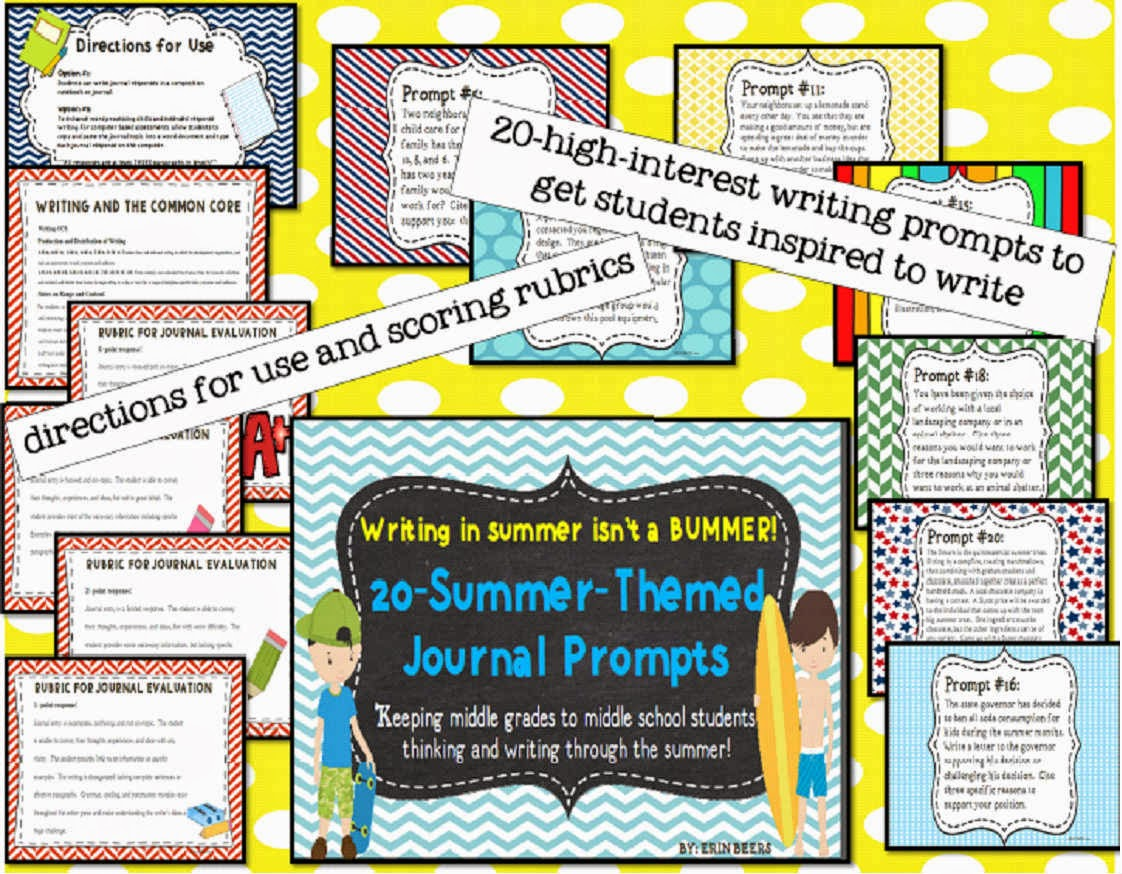 http://www.teacherspayteachers.com/Product/Summer-Themed-Journal-Prompts-for-Middle-Grades-to-Middle-School-1178002