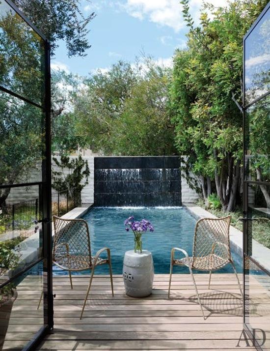 modern California home, lap pool with decorative fountain, Jenni Kayne home