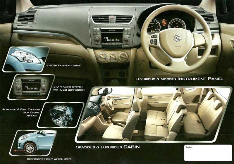 Harga Suzuki Ertiga, Spesifikasi Suzuki Ertiga 2012