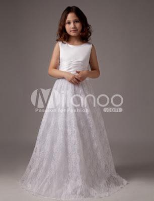 Sweet White Satin A-ligne de robe de première communion