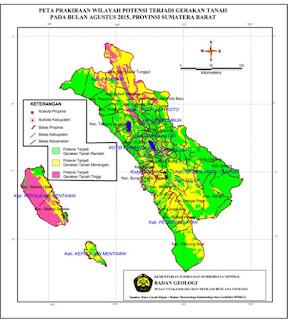 Peta zonasi pergerakan tanah dan banjir di wilayah Sumatera Barat (prakiraan bulan Agustus 2015 dari ESDM)