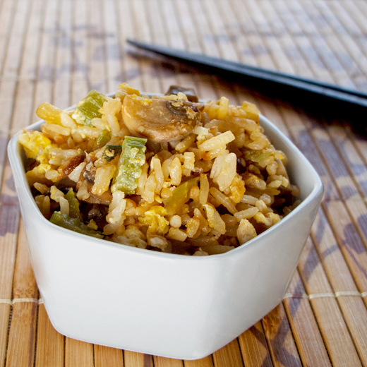 garlic fried rice with tobanjan, celery, onions, garlic and fish sauce