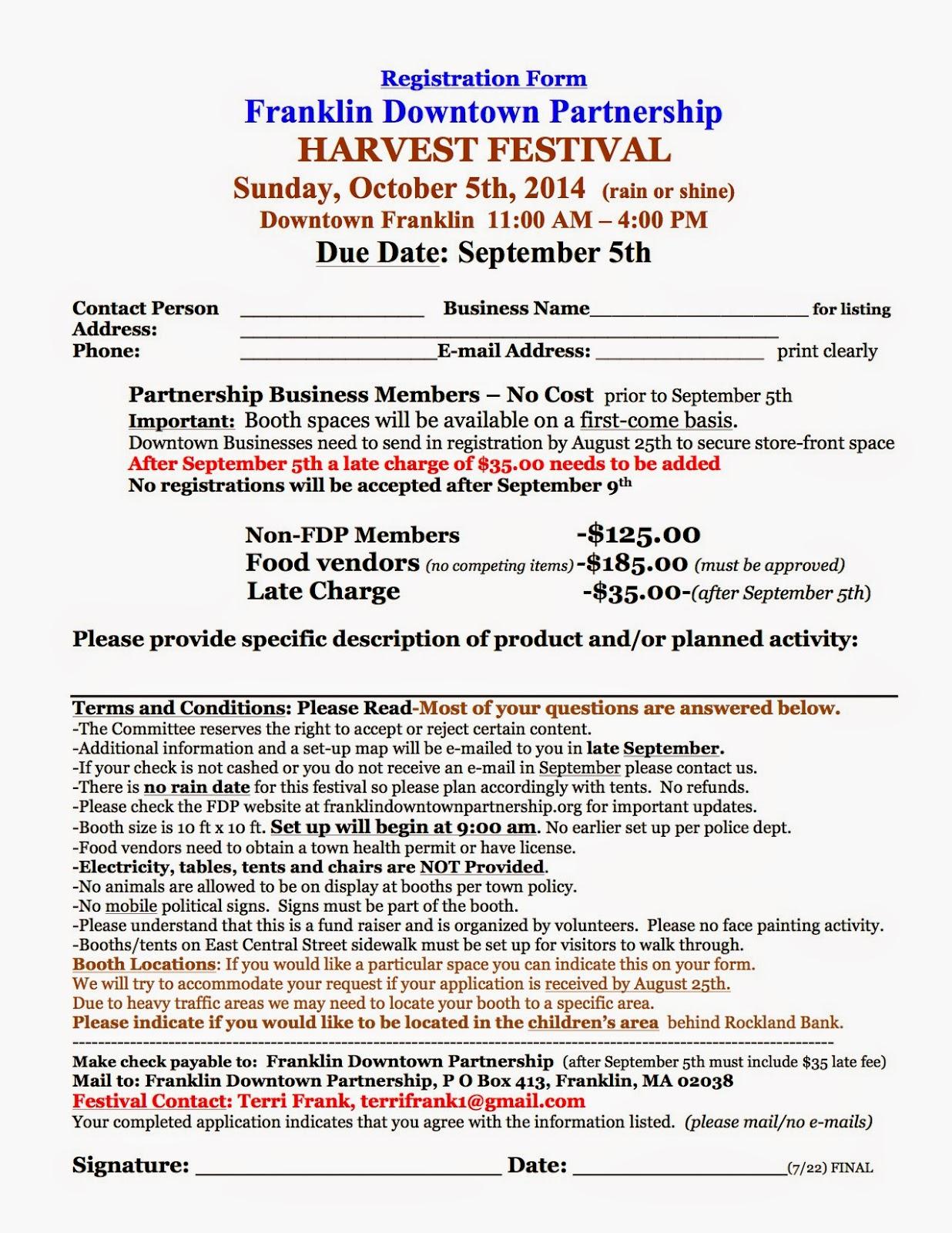 Franklin Downtown Partnership: 2014 Harvest Festival Registration Form