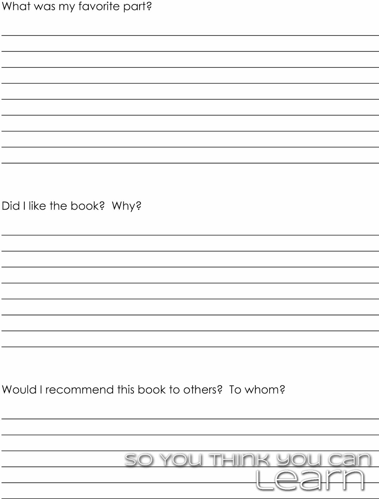printable book report template middle school