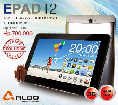 Aldo EPAD T2 Tablet Android Murah 3G Rp 700 Ribuan