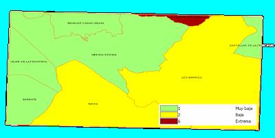 Mapa de peligrosidad por gravedad de incendios forestales.