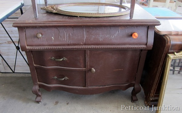 Shabby white distressed dresser by Petticoat Junktion, featured on I Love That Junk. The before...