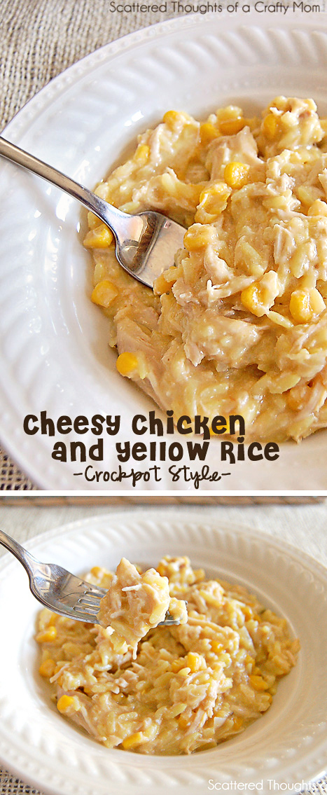 Easy Cheesy Chicken and Yellow Rice in the crock pot. (Slow Cooker Recipes)