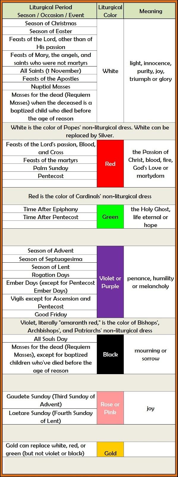 Liturgical Colors | New Calendar Template Site