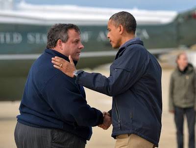President Obama is greeted by New Jersey Gov.