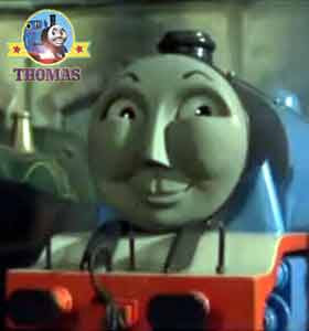 Fat Controller Edward Thomas and his friends Gordon the tank engine at the roundhouse Sodor Tidmouth