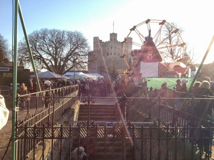 Rochester Castle and Market at Christmas
