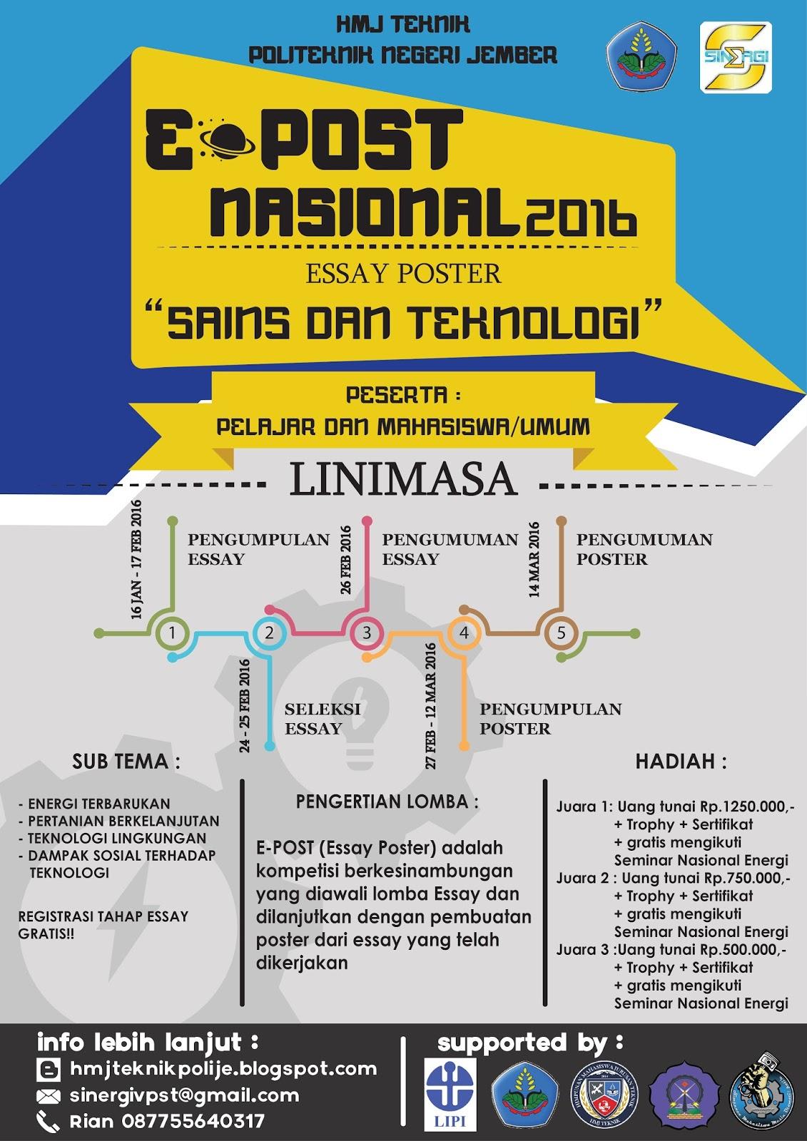 Lomba E Post Nasional 2016 Esai Dan Poster Sains Dan Teknologi
