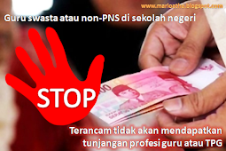 Guru swasta atau non-PNS di sekolah negeri terancam tidak akan mendapatkan tunjangan profesi guru atau TPG