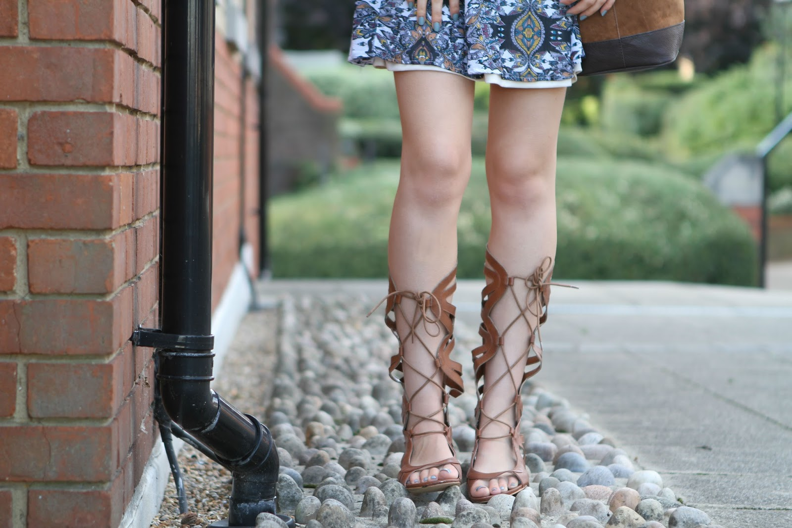 paisley dress and gladiator heels