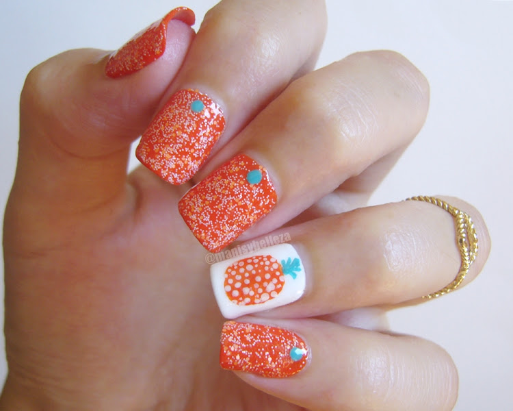 Nail art piña Pineapple nails