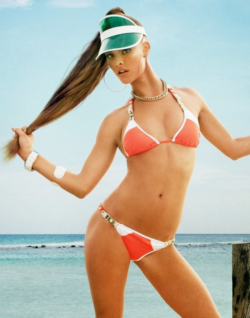 Swimwear Photoshoot: Nina Agdal is the femme fatale for Beach Bunny Swimwear Spring 2014 Campaign