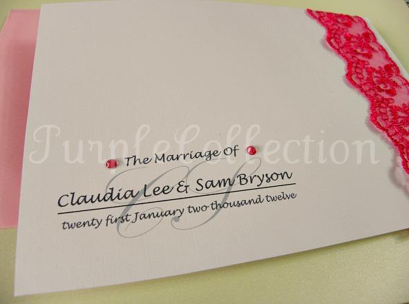Lace Theme Wedding Invitation Card, wedding invitation card, lace theme card, lace card, lace invitation card, wedding card, handmade card, pink