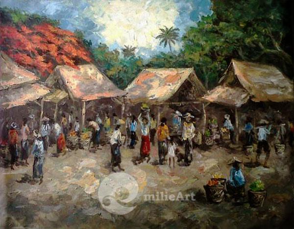lukisan suasana pasar