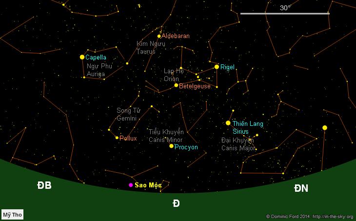 Bầu trời hướng đông lúc 3 giờ rưỡi sáng ngày 11/9/2014. Những chòm sao và thiên thể quen thuộc của bầu trời mùa đông đã sẵn sàng cho bạn chiêm ngưỡng.