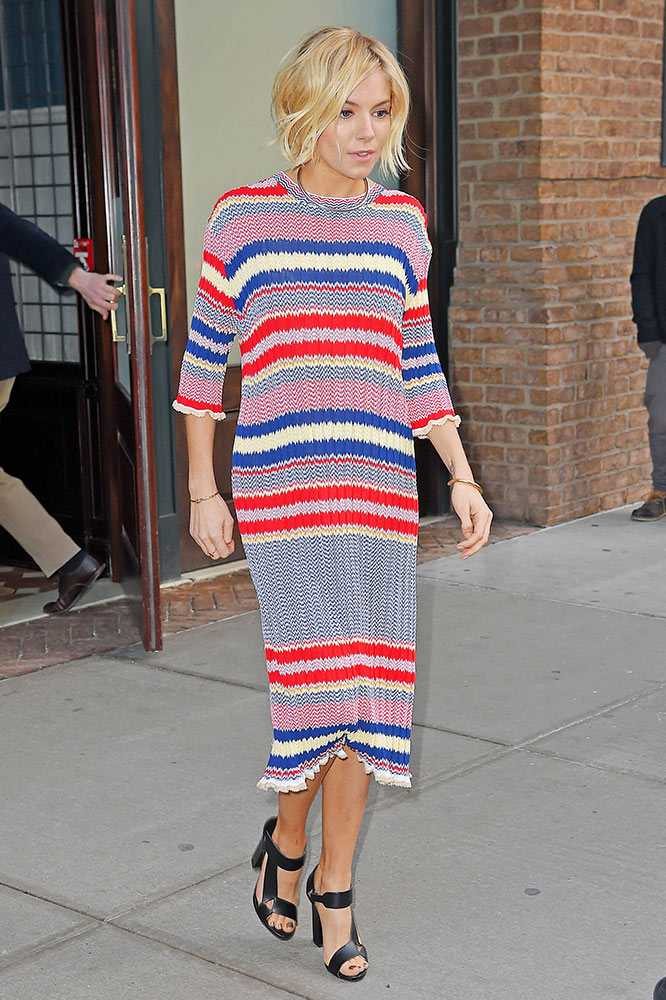 sienna miller style striped dress 2015