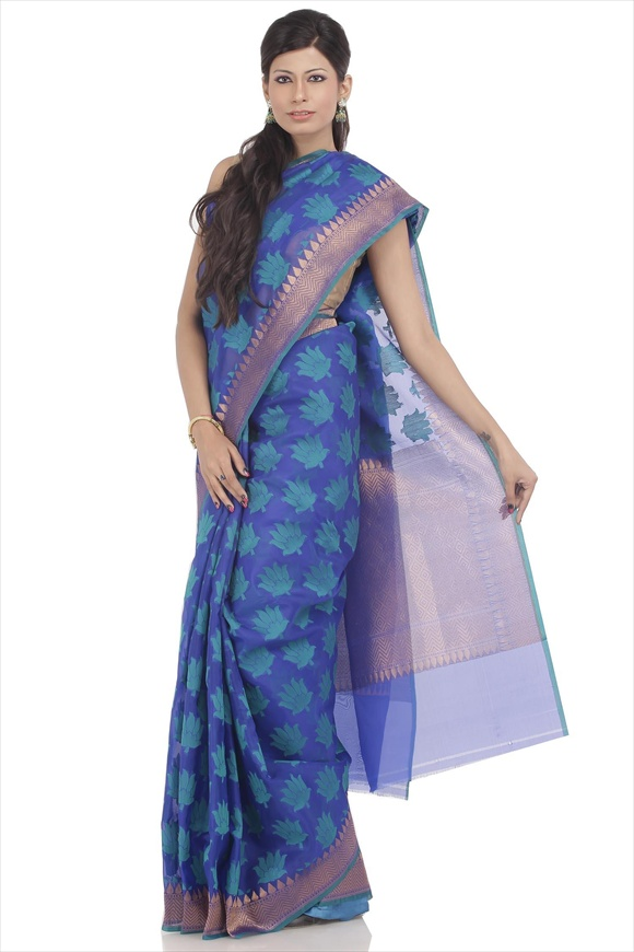 Royal Blue Dupion Banarasi Saree