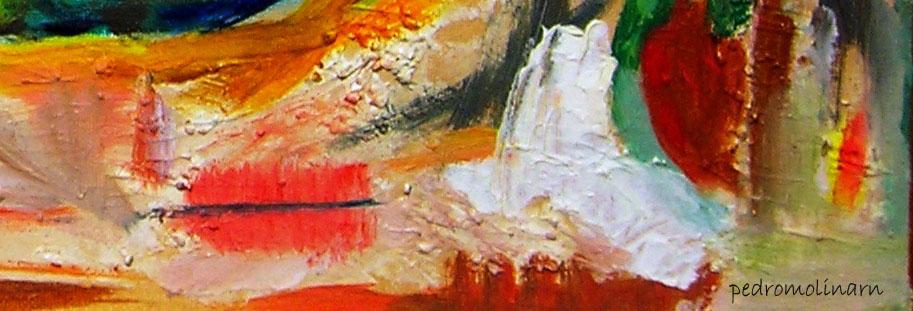 Fragmento de pintura, técnica mixta