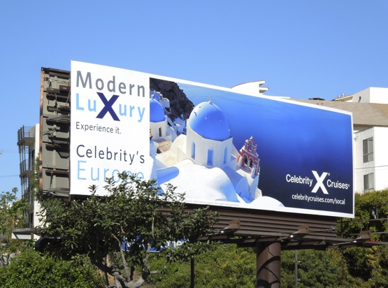 Celebrity X Cruises Santorini billboard