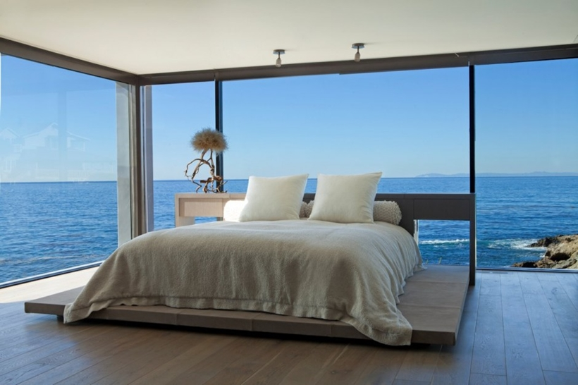 Bedroom view in Romantic home above the ocean, California