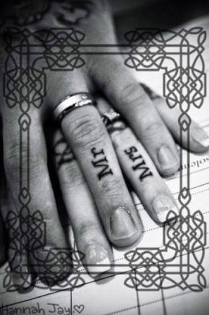 See more Couples tattoo for wedding. Kind of wondering what the point of this is but still cute!