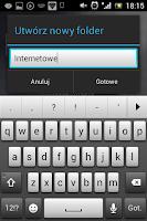 Nadawanie nazwy nowemu folderowi w Androidzie - menu