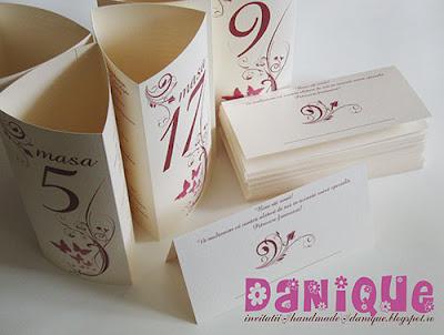 set meniu + placecard (plic de bani) pentru nunta
