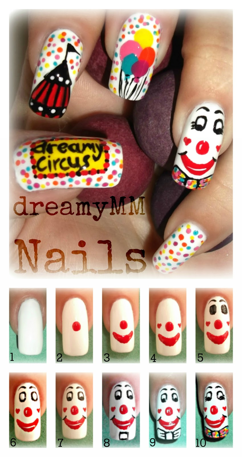 Circus Clown Nail Art