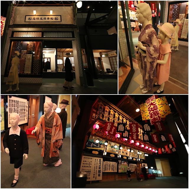 Japanese in their traditional costumes and modern clothing along the shops and cinema in the early days at Museum of History in Osaka, Japan