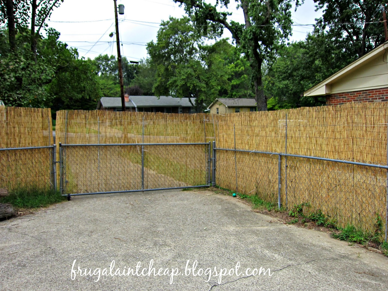 Frugal aint cheap chain link fence project we have 3 gates so around the gates i left a few inches extra baanklon Images
