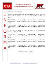C.T.A. INFORMA CRÉDITO HORARIO CRISTOBAL NIETO, SEPTIEMBRE 2018