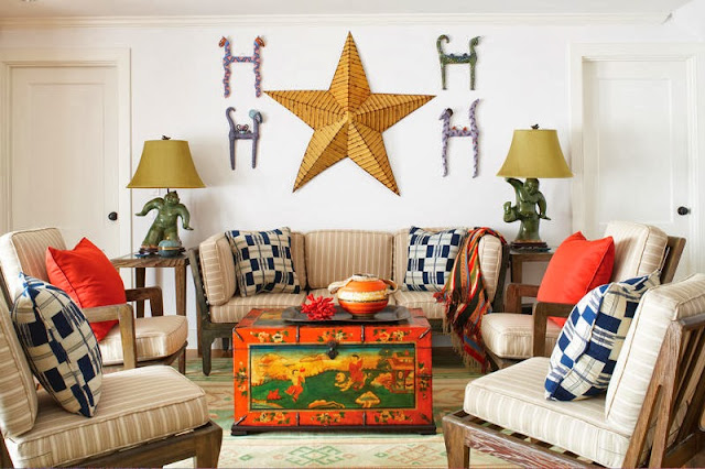 lively living room design combining fun cushion patterns and attractive furniture and accessories