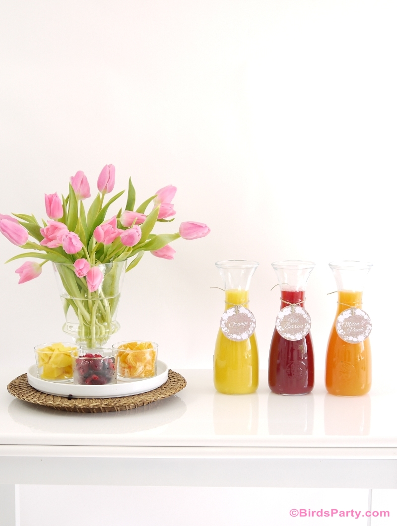Styling a DIY Mimosa Bar: with Recipes and Free Printables