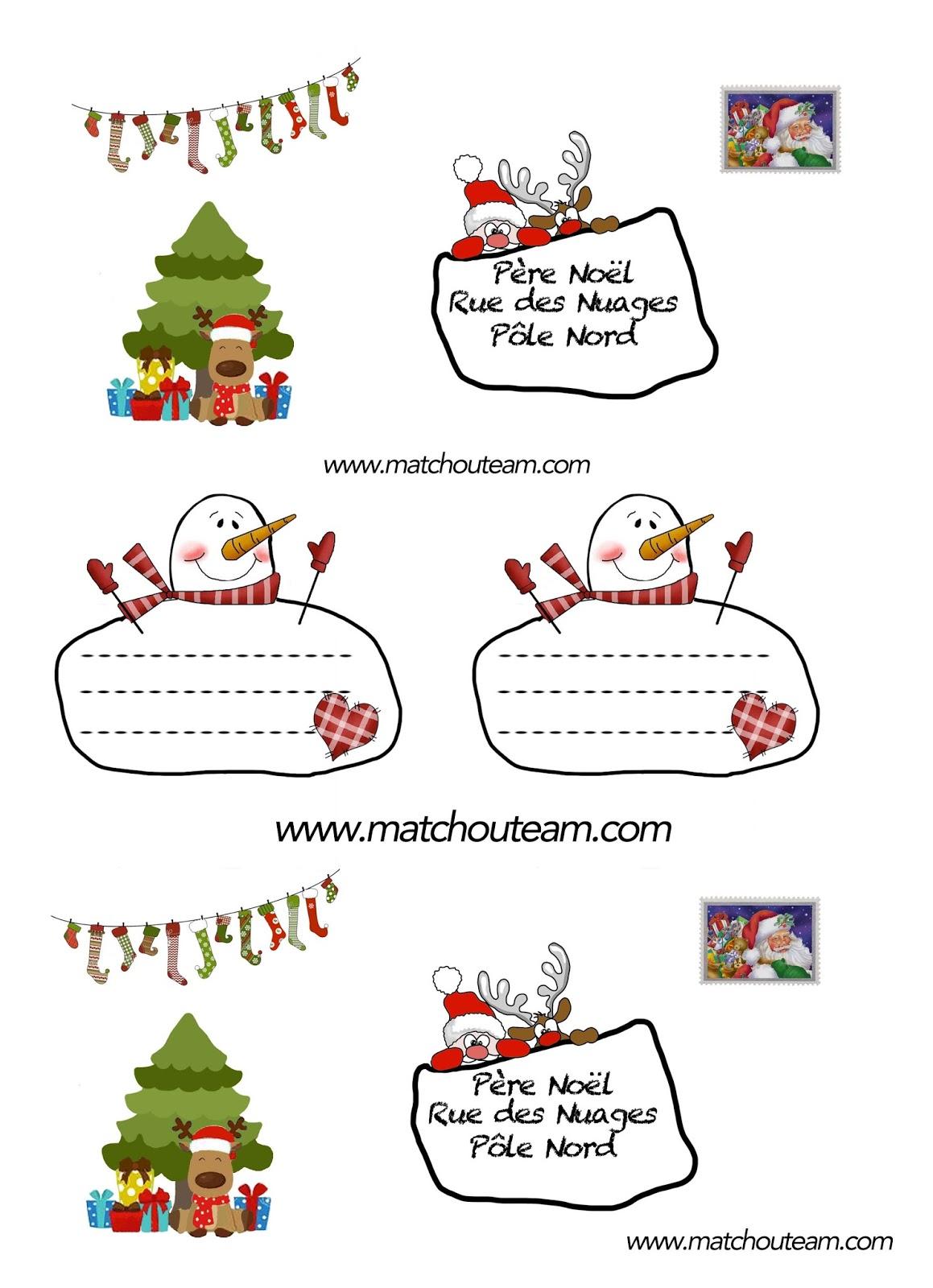 gabarit enveloppe lettre au Père Noël