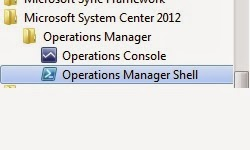 Image illustratin the correct System Center 2012 Operations Manager Shell to open for running the powershell commands